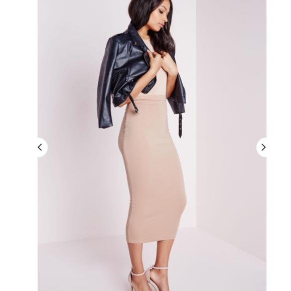 178959809 Missguided Skirts | Nwt Longline Jersey Midi Skirt Nude | Poshmark